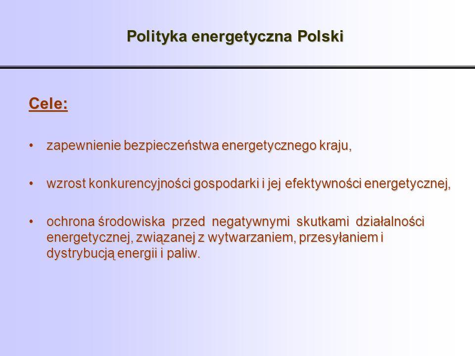 Polityka energetyczna Polski Cele: zapewnienie bezpieczeństwa energetycznego kraju,zapewnienie bezpieczeństwa energetycznego kraju, wzrost konkurencyj