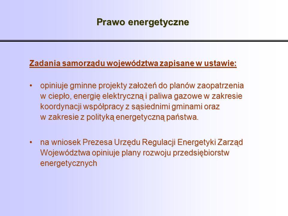 Prawo energetyczne Zadania samorządu województwa zapisane w ustawie: opiniuje gminne projekty założeń do planów zaopatrzenia w ciepło, energię elektry