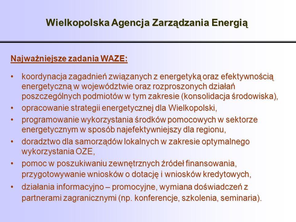 Wielkopolska Agencja Zarządzania Energią Najważniejsze zadania WAZE: koordynacja zagadnień związanych z energetyką oraz efektywnością energetyczną w w
