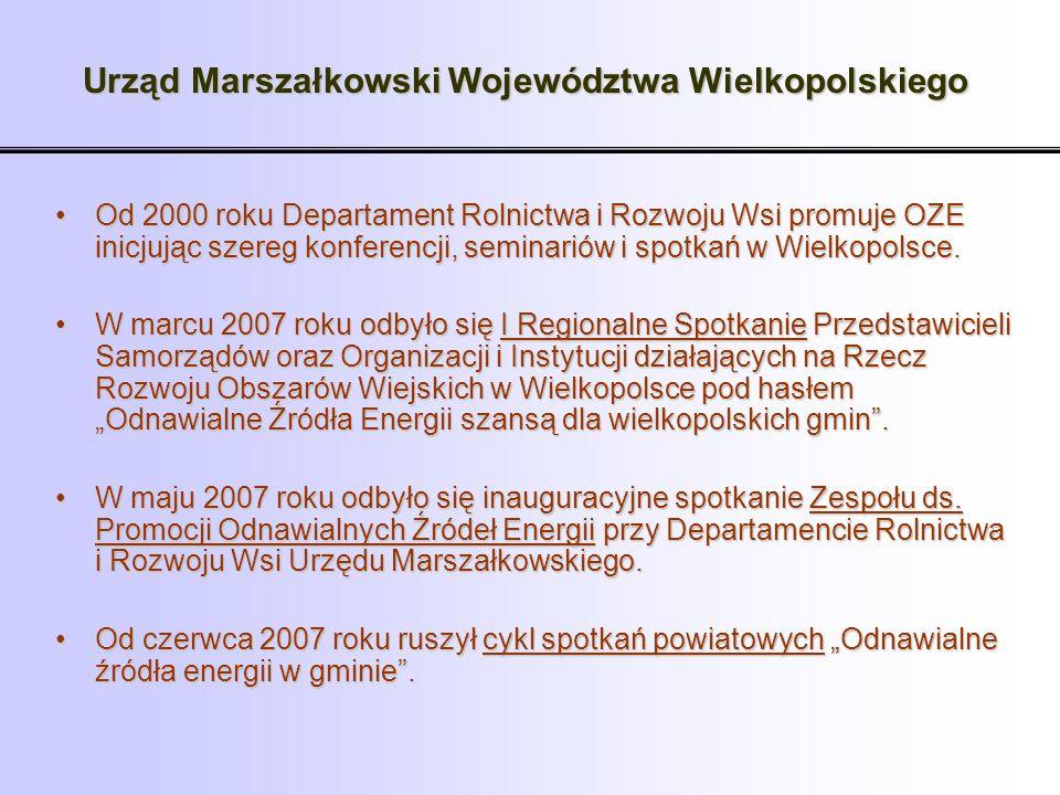Urząd Marszałkowski Województwa Wielkopolskiego Od 2000 roku Departament Rolnictwa i Rozwoju Wsi promuje OZE inicjując szereg konferencji, seminariów
