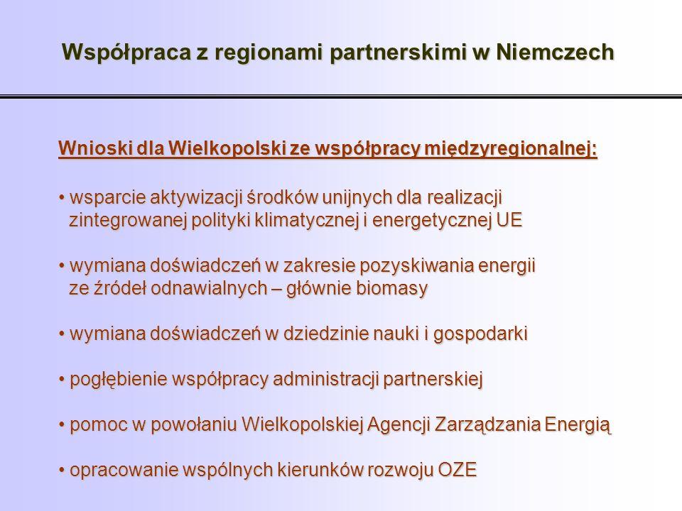 Wnioski dla Wielkopolski ze współpracy międzyregionalnej: wsparcie aktywizacji środków unijnych dla realizacji wsparcie aktywizacji środków unijnych d