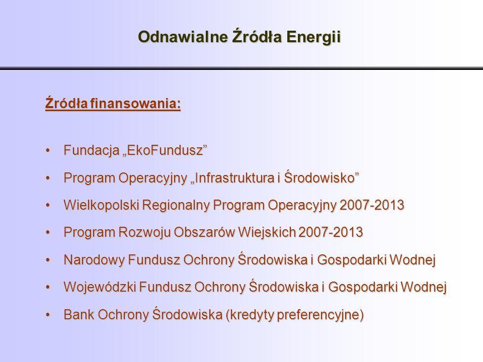 Odnawialne Źródła Energii Źródła finansowania: Fundacja EkoFunduszFundacja EkoFundusz Program Operacyjny Infrastruktura i ŚrodowiskoProgram Operacyjny