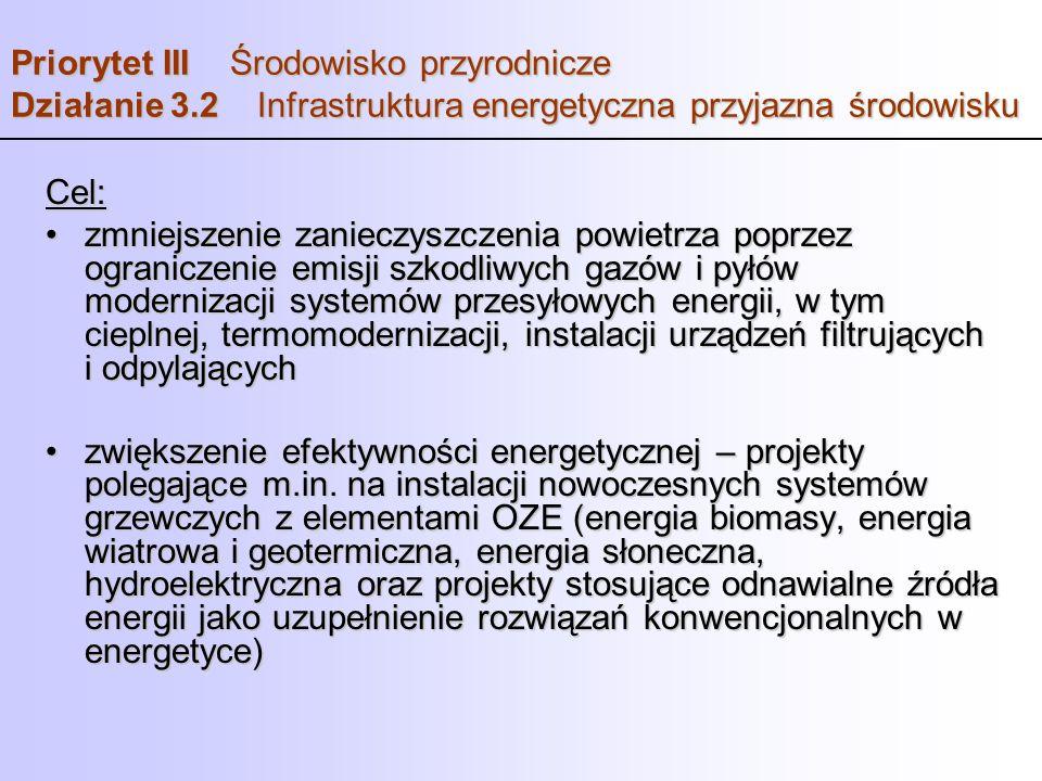 Priorytet III Środowisko przyrodnicze Działanie 3.2 Infrastruktura energetyczna przyjazna środowisku Cel: zmniejszenie zanieczyszczenia powietrza popr