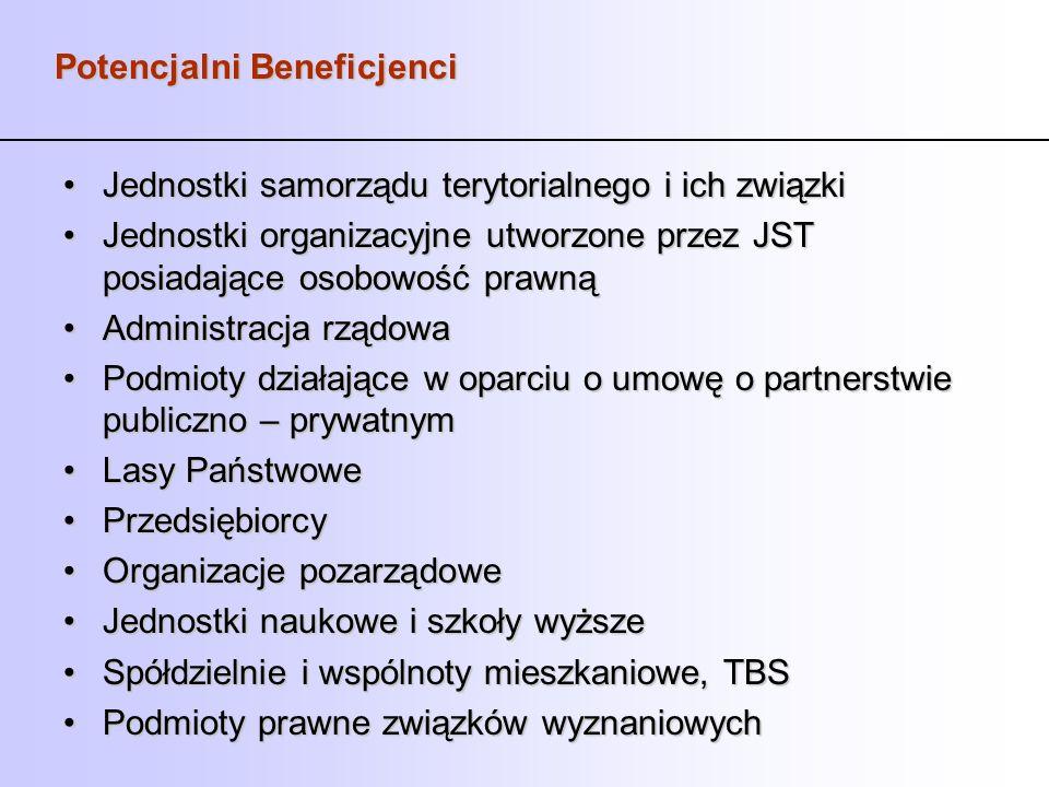 Potencjalni Beneficjenci Jednostki samorządu terytorialnego i ich związkiJednostki samorządu terytorialnego i ich związki Jednostki organizacyjne utwo