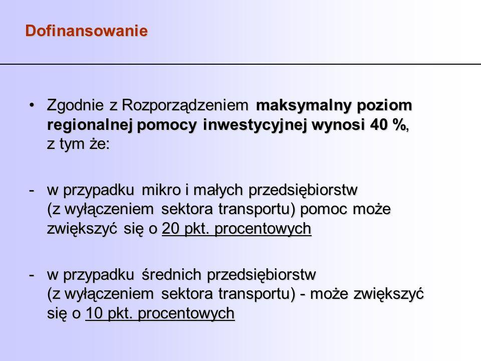 Dofinansowanie Zgodnie z Rozporządzeniemmaksymalny poziom regionalnej pomocy inwestycyjnej wynosi 40 %, z tym że:Zgodnie z Rozporządzeniem maksymalny