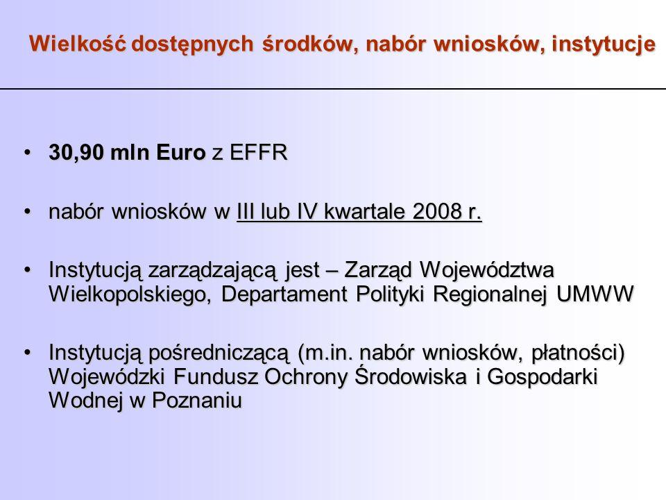 Wielkość dostępnych środków, nabór wniosków, instytucje 30,90 mln Euro z EFFR30,90 mln Euro z EFFR nabór wniosków w III lub IV kwartale 2008 r.nabór w