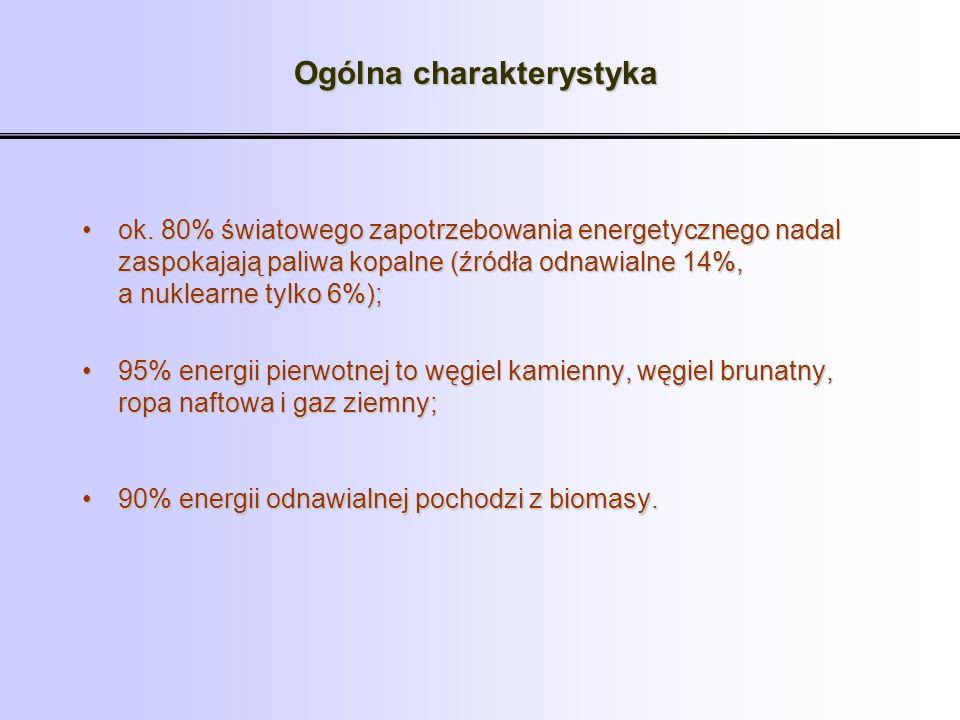 ok. 80% światowego zapotrzebowania energetycznego nadal zaspokajają paliwa kopalne (źródła odnawialne 14%, a nuklearne tylko 6%);ok. 80% światowego za