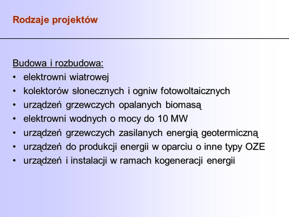 Rodzaje projektów Budowa i rozbudowa: elektrowni wiatrowejelektrowni wiatrowej kolektorów słonecznych i ogniw fotowoltaicznychkolektorów słonecznych i