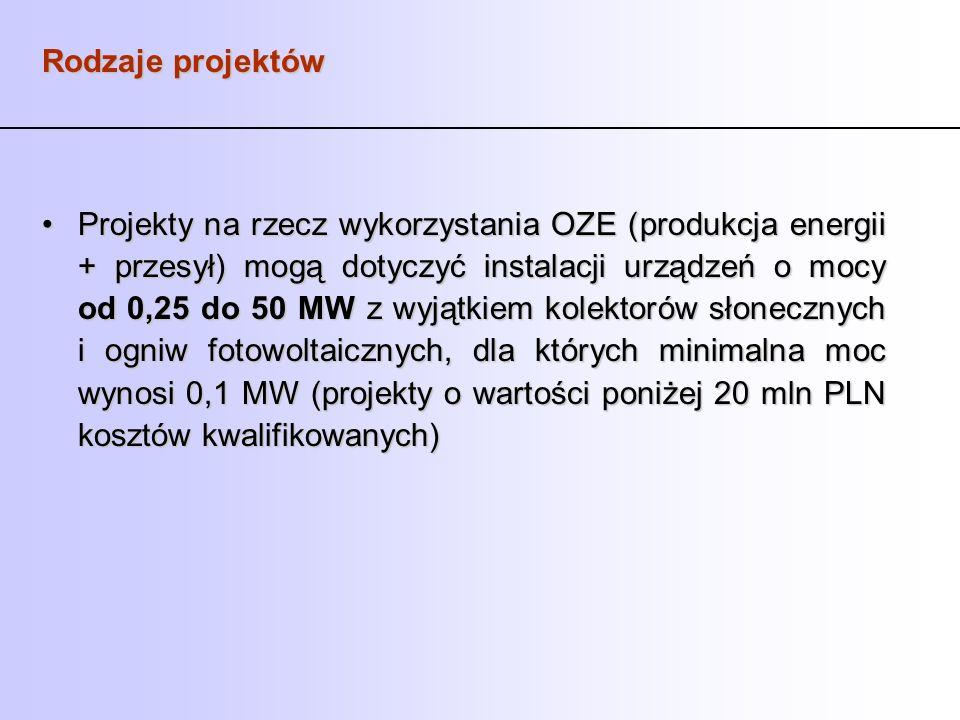 Rodzaje projektów Projekty na rzecz wykorzystania OZE (produkcja energii + przesył) mogą dotyczyć instalacji urządzeń o mocy od 0,25 do 50 MW z wyjątk