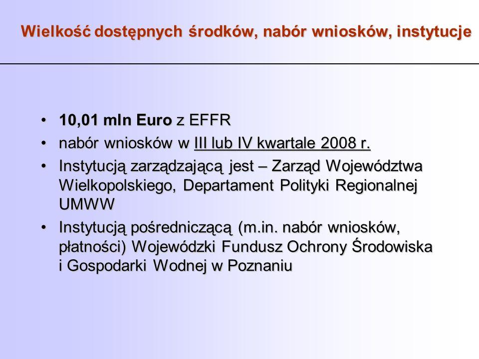 Wielkość dostępnych środków, nabór wniosków, instytucje 10,01 mln Euro z EFFR10,01 mln Euro z EFFR nabór wniosków w III lub IV kwartale 2008 r.nabór w