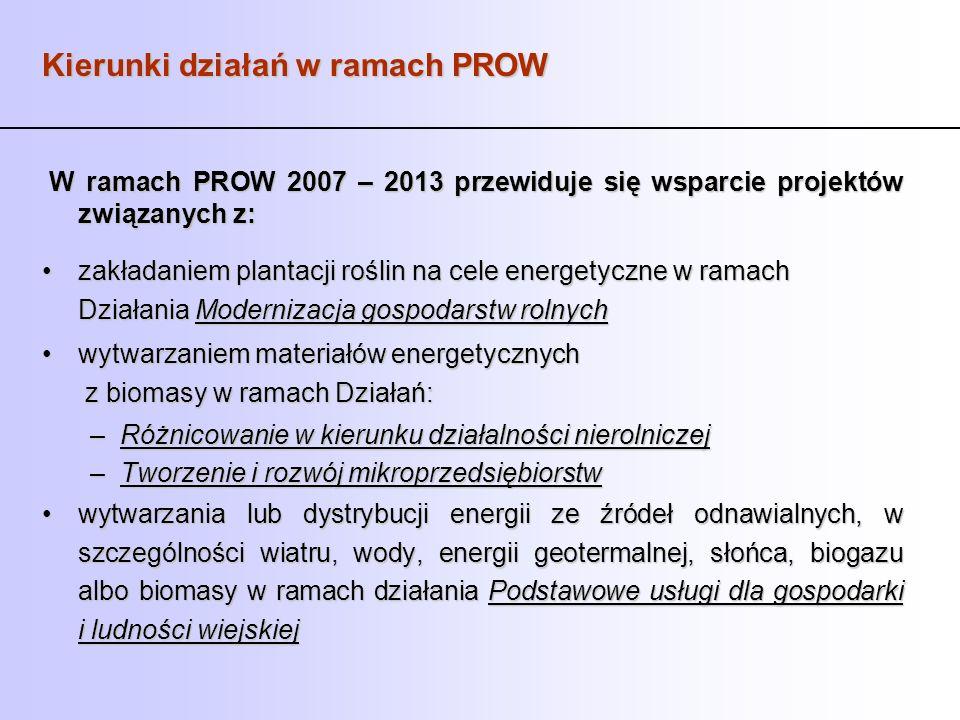 Kierunki działań w ramach PROW W ramach PROW 2007 – 2013 przewiduje się wsparcie projektów związanych z: W ramach PROW 2007 – 2013 przewiduje się wspa