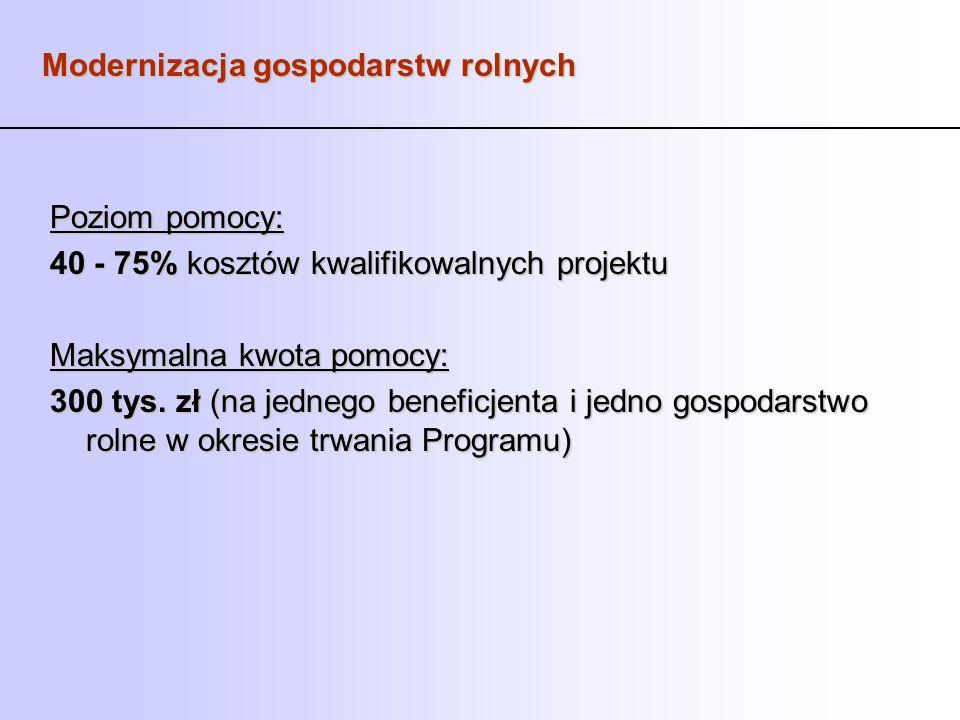 Modernizacja gospodarstw rolnych Poziom pomocy: 40 - 75% kosztów kwalifikowalnych projektu Maksymalna kwota pomocy: 300 tys. zł (na jednego beneficjen
