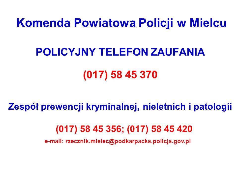 POLICYJNY TELEFON ZAUFANIA (017) 58 45 370 Zespół prewencji kryminalnej, nieletnich i patologii (017) 58 45 356; (017) 58 45 420 e-mail: rzecznik.miel