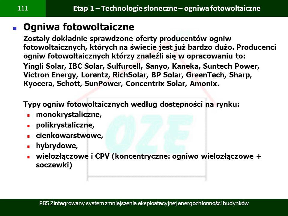 PBS Zintegrowany system zmniejszenia eksploatacyjnej energochłonności budynków 111 Etap 1 – Technologie słoneczne – ogniwa fotowoltaiczne Ogniwa fotow