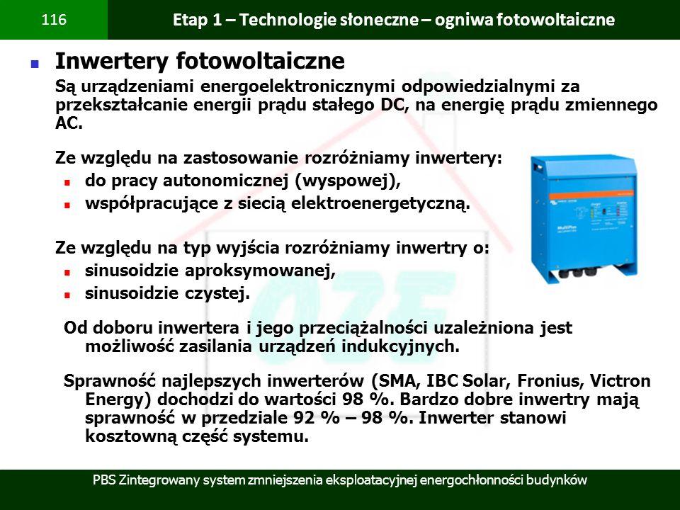 PBS Zintegrowany system zmniejszenia eksploatacyjnej energochłonności budynków 116 Etap 1 – Technologie słoneczne – ogniwa fotowoltaiczne Inwertery fo