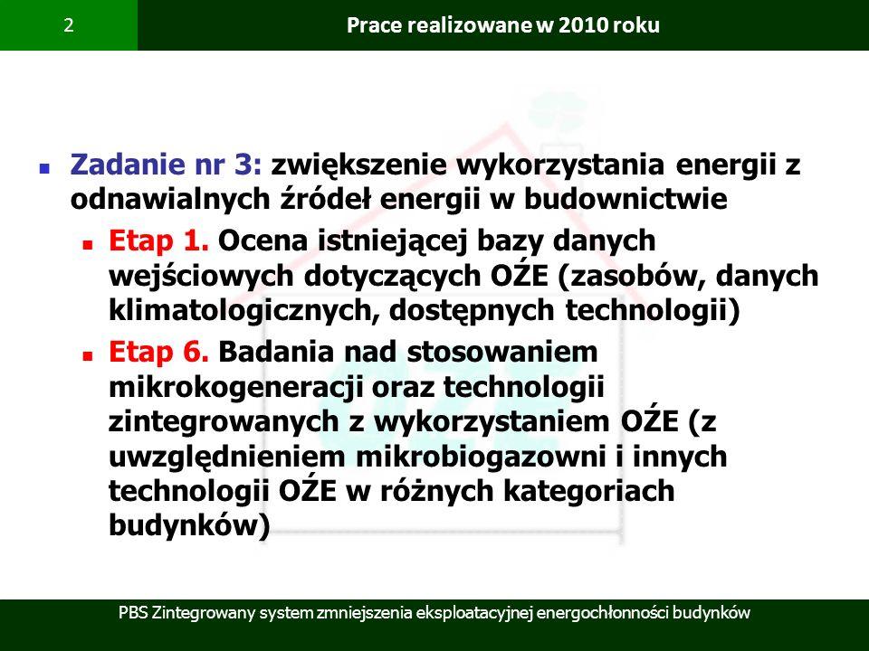 PBS Zintegrowany system zmniejszenia eksploatacyjnej energochłonności budynków 2 Prace realizowane w 2010 roku Zadanie nr 3: zwiększenie wykorzystania
