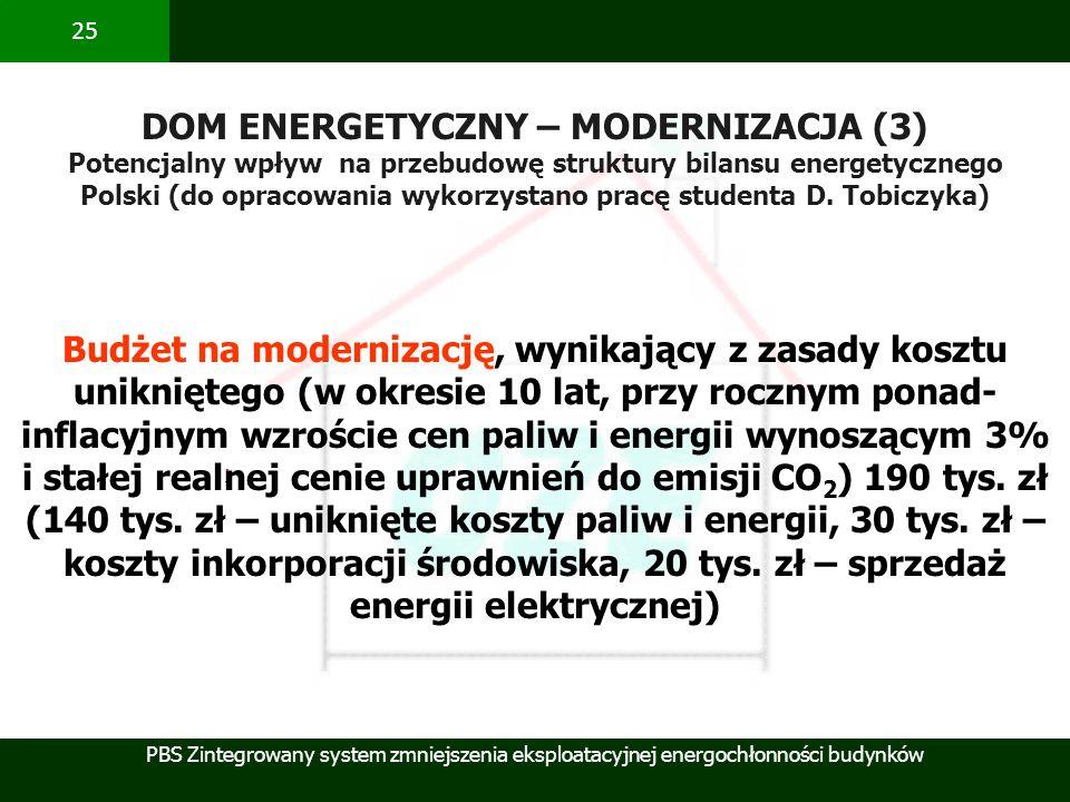 PBS Zintegrowany system zmniejszenia eksploatacyjnej energochłonności budynków 25 DOM ENERGETYCZNY – MODERNIZACJA (3) Potencjalny wpływ na przebudowę