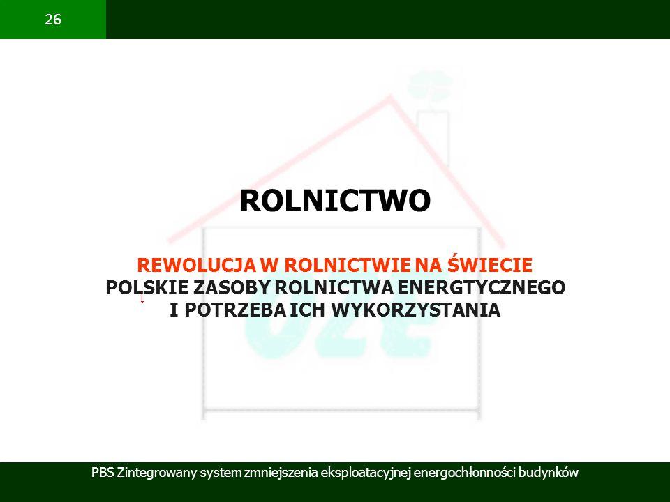PBS Zintegrowany system zmniejszenia eksploatacyjnej energochłonności budynków 26 [ ROLNICTWO REWOLUCJA W ROLNICTWIE NA ŚWIECIE POLSKIE ZASOBY ROLNICT