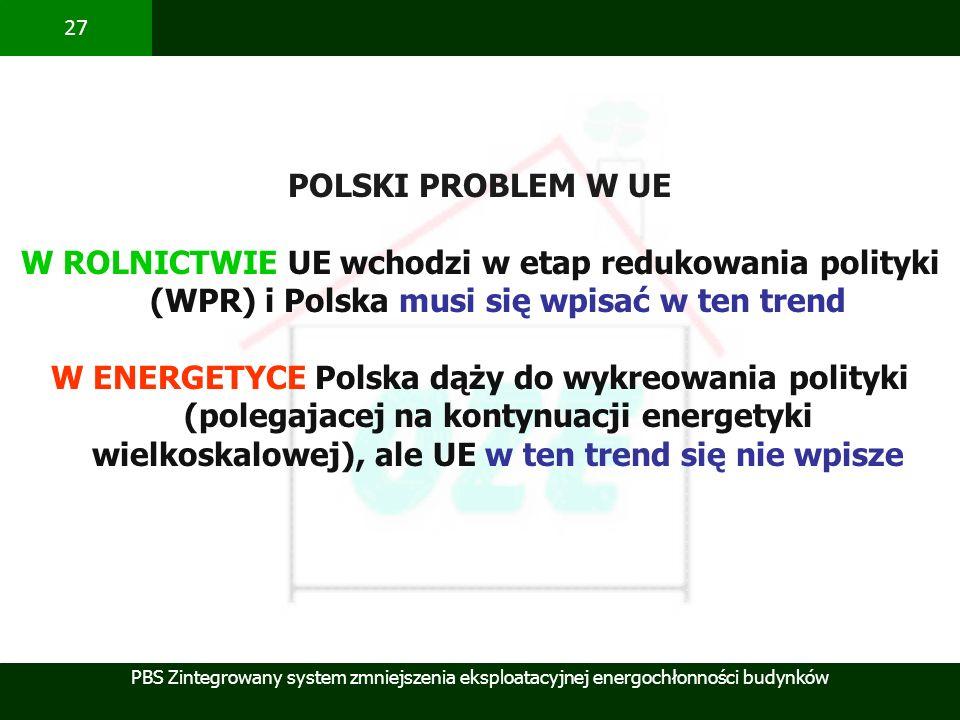 PBS Zintegrowany system zmniejszenia eksploatacyjnej energochłonności budynków 27 POLSKI PROBLEM W UE W ROLNICTWIE UE wchodzi w etap redukowania polit