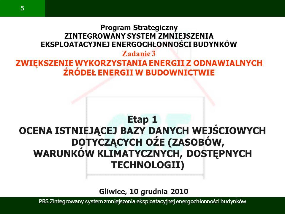 PBS Zintegrowany system zmniejszenia eksploatacyjnej energochłonności budynków 5 Etap 1 OCENA ISTNIEJĄCEJ BAZY DANYCH WEJŚCIOWYCH DOTYCZĄCYCH OŹE (ZAS