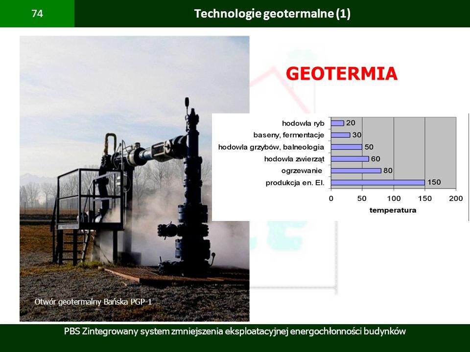 PBS Zintegrowany system zmniejszenia eksploatacyjnej energochłonności budynków 74 Technologie geotermalne (1) GEOTERMIA Otwór geotermalny Bańska PGP-1