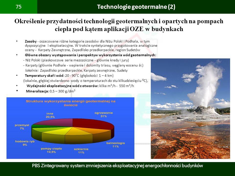 PBS Zintegrowany system zmniejszenia eksploatacyjnej energochłonności budynków 75 Technologie geotermalne (2) Określenie przydatności technologii geot