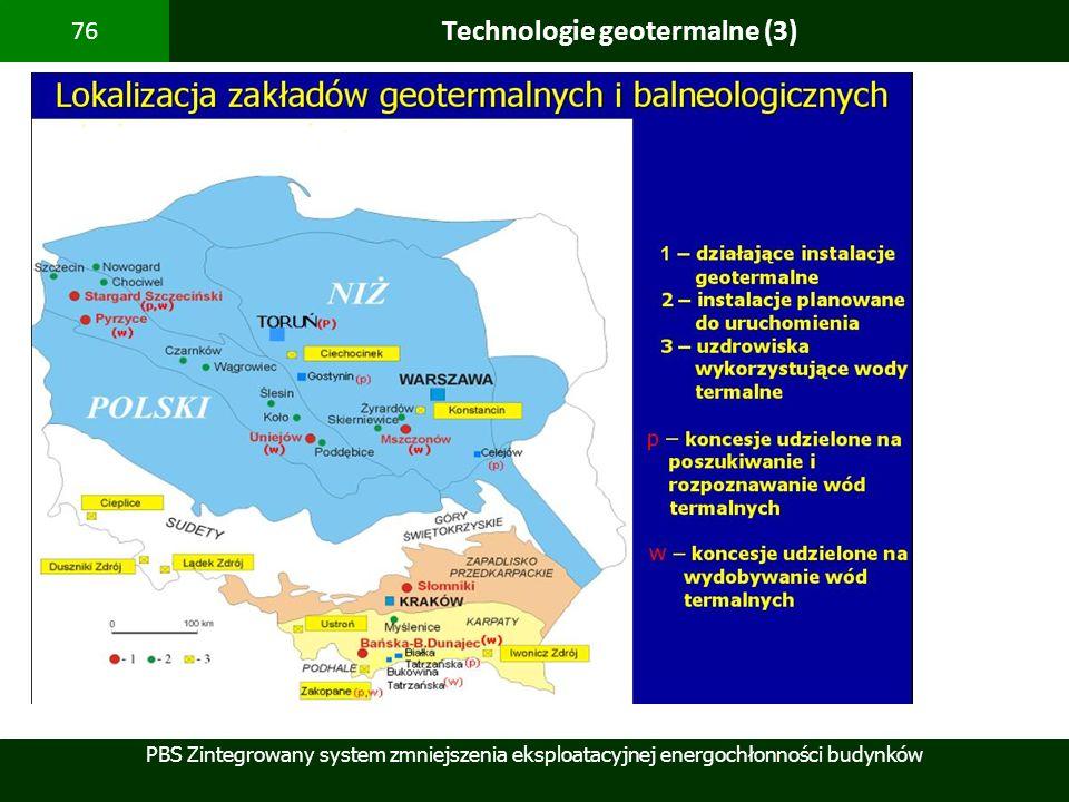 PBS Zintegrowany system zmniejszenia eksploatacyjnej energochłonności budynków 76 Technologie geotermalne (3)