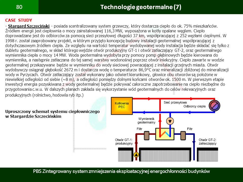 PBS Zintegrowany system zmniejszenia eksploatacyjnej energochłonności budynków 80 Technologie geotermalne (7) CASE STUDY - Stargard Szczeciński - posi