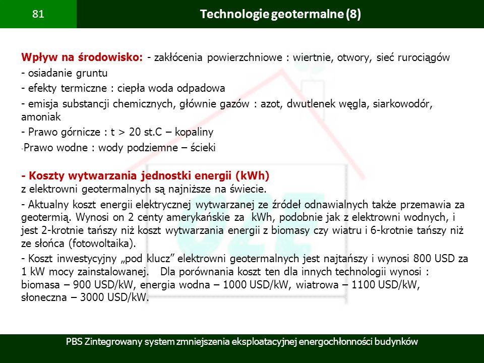 PBS Zintegrowany system zmniejszenia eksploatacyjnej energochłonności budynków 81 Technologie geotermalne (8) Wpływ na środowisko: - zakłócenia powier