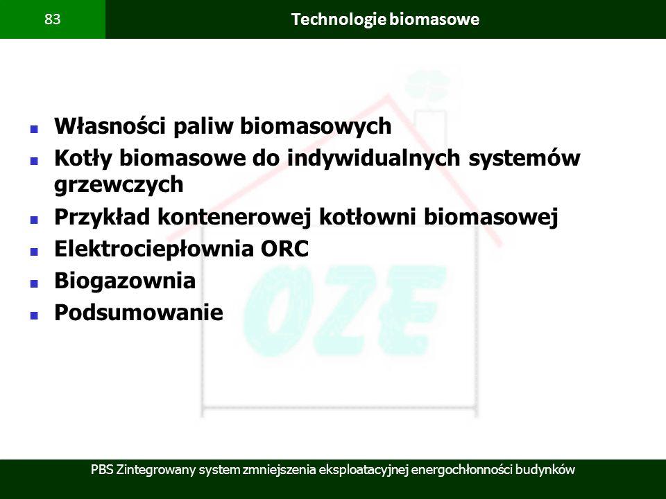 PBS Zintegrowany system zmniejszenia eksploatacyjnej energochłonności budynków 83 Technologie biomasowe Własności paliw biomasowych Kotły biomasowe do