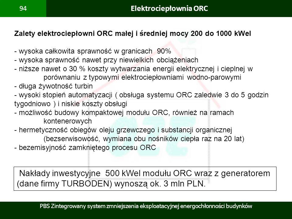 PBS Zintegrowany system zmniejszenia eksploatacyjnej energochłonności budynków 94 Elektrociepłownia ORC Zalety elektrociepłowni ORC małej i średniej m