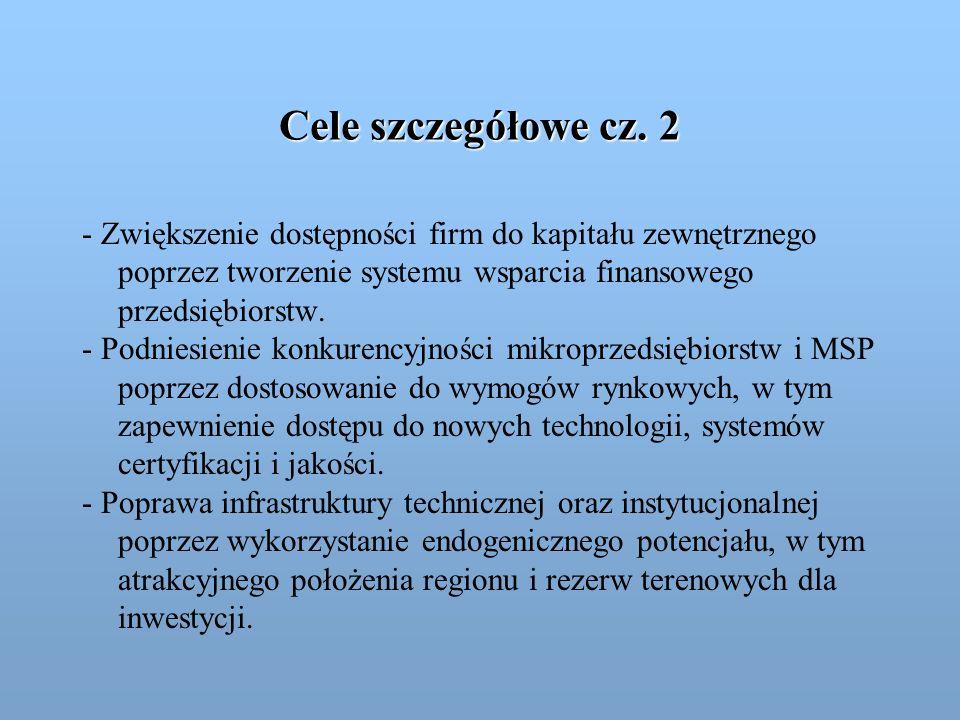 Cele szczegółowe cz. 2 - Zwiększenie dostępności firm do kapitału zewnętrznego poprzez tworzenie systemu wsparcia finansowego przedsiębiorstw. - Podni