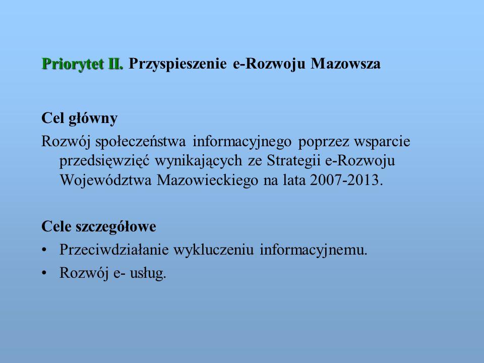 Priorytet II. Priorytet II. Przyspieszenie e-Rozwoju Mazowsza Cel główny Rozwój społeczeństwa informacyjnego poprzez wsparcie przedsięwzięć wynikający