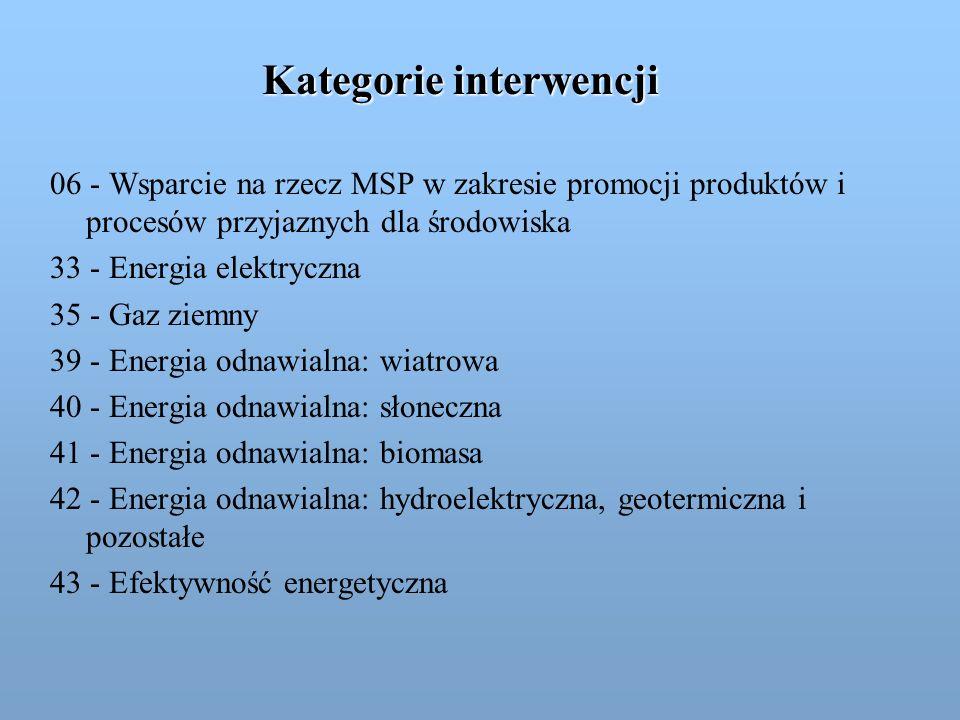Kategorie interwencji 06 - Wsparcie na rzecz MSP w zakresie promocji produktów i procesów przyjaznych dla środowiska 33 - Energia elektryczna 35 - Gaz