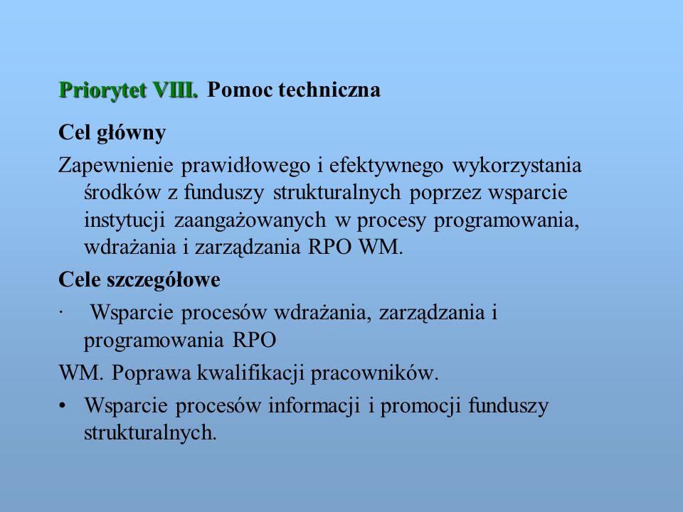 Priorytet VIII. Priorytet VIII. Pomoc techniczna Cel główny Zapewnienie prawidłowego i efektywnego wykorzystania środków z funduszy strukturalnych pop
