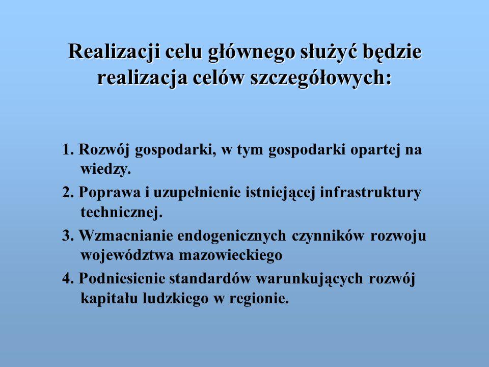 Realizacji celu głównego służyć będzie realizacja celów szczegółowych: 1. Rozwój gospodarki, w tym gospodarki opartej na wiedzy. 2. Poprawa i uzupełni