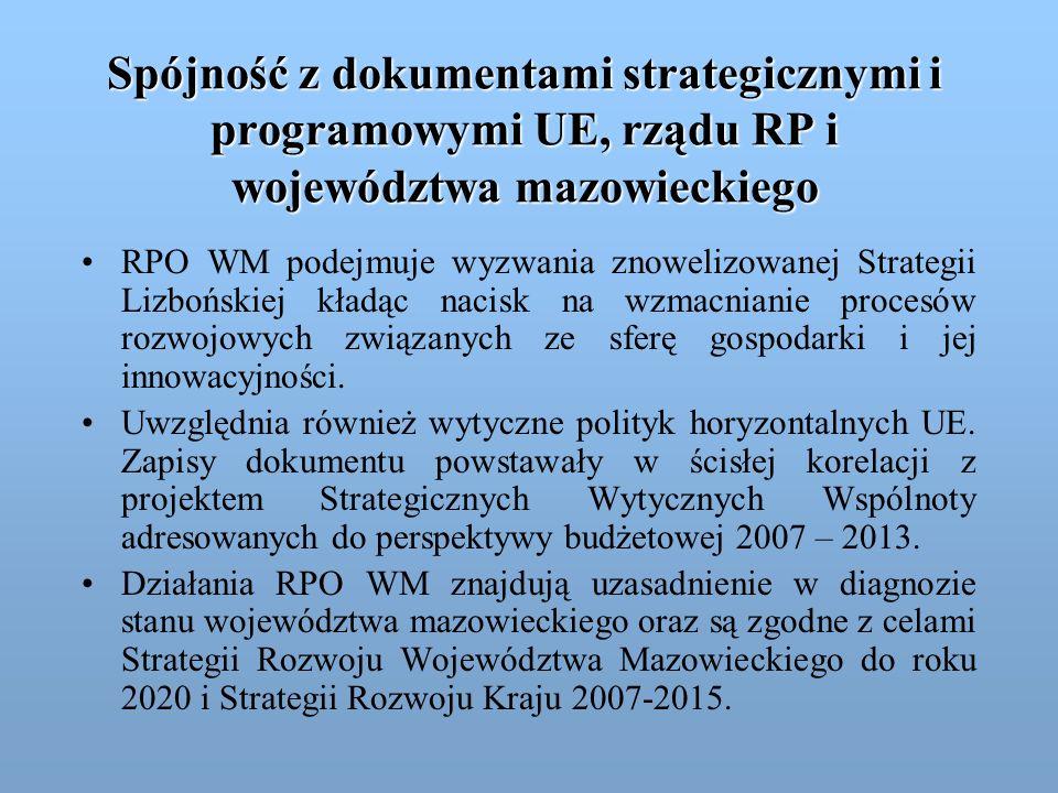 Spójność z dokumentami strategicznymi i programowymi UE, rządu RP i województwa mazowieckiego RPO WM podejmuje wyzwania znowelizowanej Strategii Lizbo