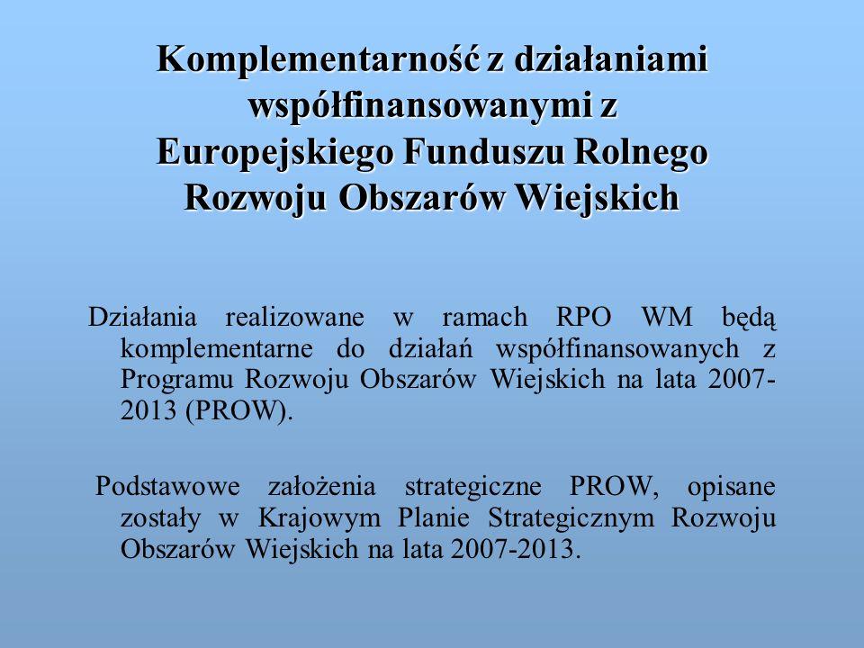 Europejski Fundusz Rolny na Rzecz Rozwoju Obszarów Wiejskich Komplementarność wystąpi w działaniach realizowanych w ramach następujących priorytetów RPO WM: I.