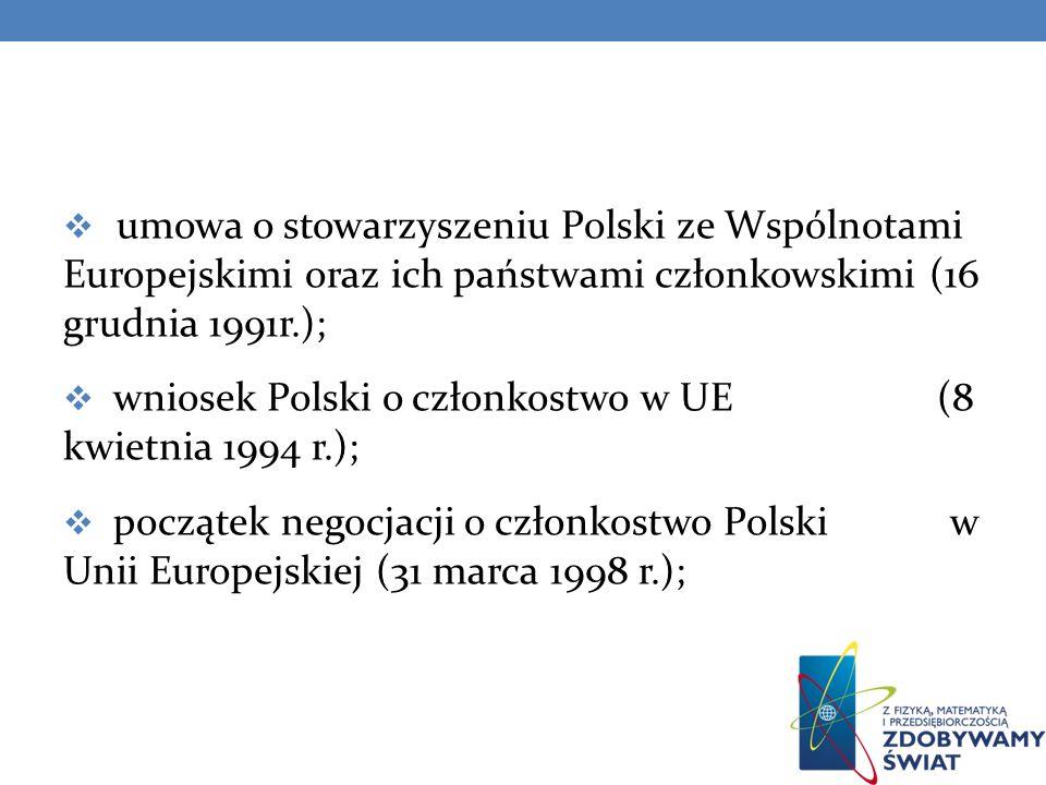 zakończenie negocjacji i ogłoszenie gotowości Polski do przystąpienia do Unii Europejskiej (31 grudnia 2002 r.); referendum narodowe w sprawie członkostwa Polski w Unii Europejskiej (czerwiec 2003 r.); przyjęcie Polski do Unii Europejskiej (1 maja 2004 r.);
