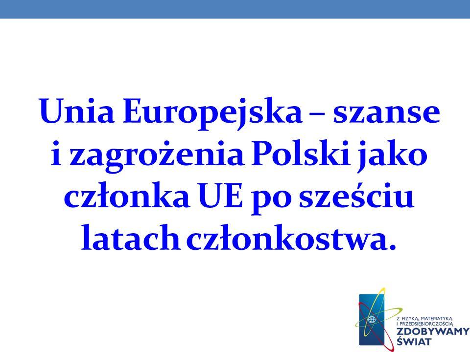 Cele prezentacji: poznanie roli Unii Europejskiej, jako organizacji międzynarodowej oraz wpływu polityki UE na sytuację w Polsce; przedstawienie bilansu dotychczasowego członkostwa Polski w Unii Europejskiej w sferze jej działania; określenie szans i zagrożeń na kolejne lata członkostwa Polski w Unii Europejskiej;