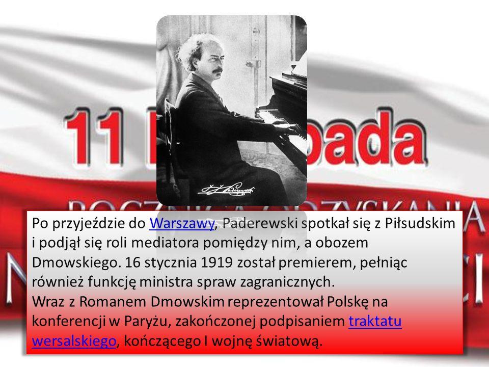 Po przyjeździe do Warszawy, Paderewski spotkał się z Piłsudskim i podjął się roli mediatora pomiędzy nim, a obozem Dmowskiego. 16 stycznia 1919 został