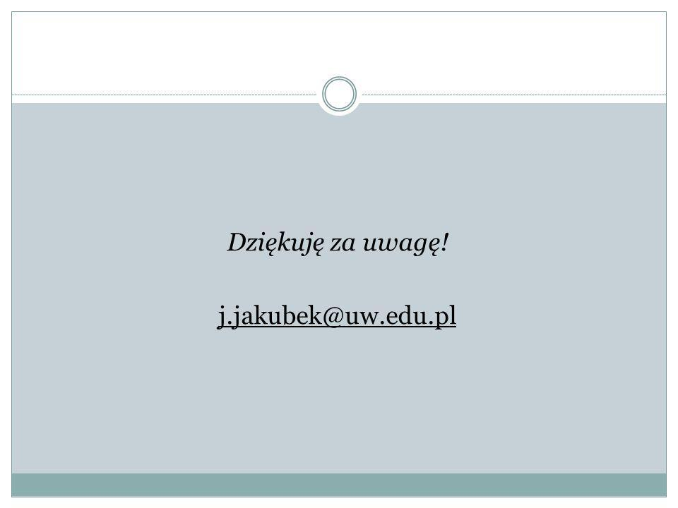 Dziękuję za uwagę! j.jakubek@uw.edu.pl