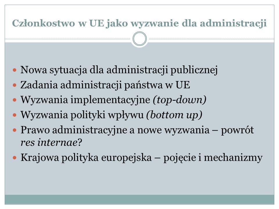 Członkostwo w UE jako wyzwanie dla administracji Nowa sytuacja dla administracji publicznej Zadania administracji państwa w UE Wyzwania implementacyjn