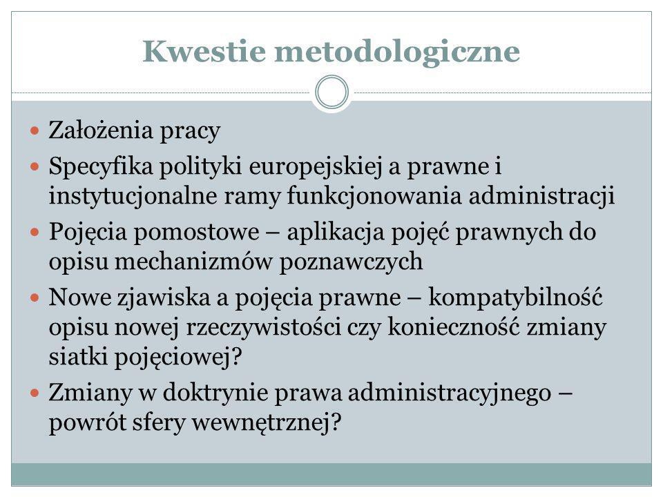 Kwestie metodologiczne Założenia pracy Specyfika polityki europejskiej a prawne i instytucjonalne ramy funkcjonowania administracji Pojęcia pomostowe