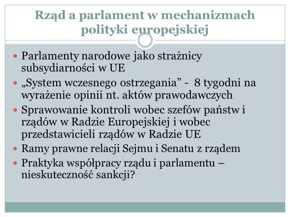 Rząd a parlament w mechanizmach polityki europejskiej Parlamenty narodowe jako strażnicy subsydiarności w UE System wczesnego ostrzegania - 8 tygodni