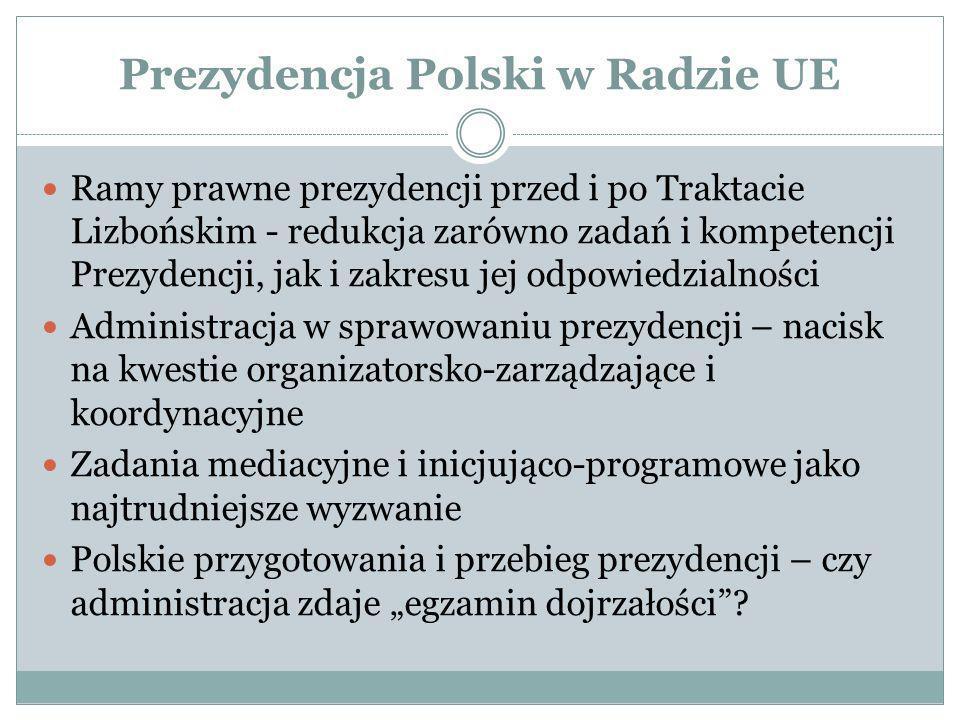 Prezydencja Polski w Radzie UE Ramy prawne prezydencji przed i po Traktacie Lizbońskim - redukcja zarówno zadań i kompetencji Prezydencji, jak i zakre