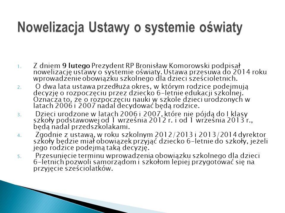 1. Z dniem 9 lutego Prezydent RP Bronisław Komorowski podpisał nowelizację ustawy o systemie oświaty. Ustawa przesuwa do 2014 roku wprowadzenie obowią