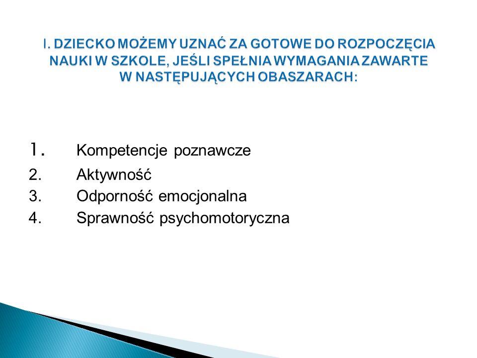 1. Kompetencje poznawcze 2.Aktywność 3.Odporność emocjonalna 4.Sprawność psychomotoryczna