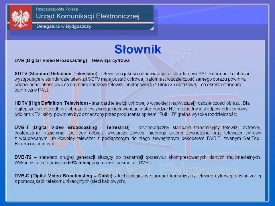 Słownik DVB (Digital Video Broadcasting) – telewizja cyfrowa SDTV (Standard Definition Television) - telewizja o jakości odpowiadającej standardowi PA