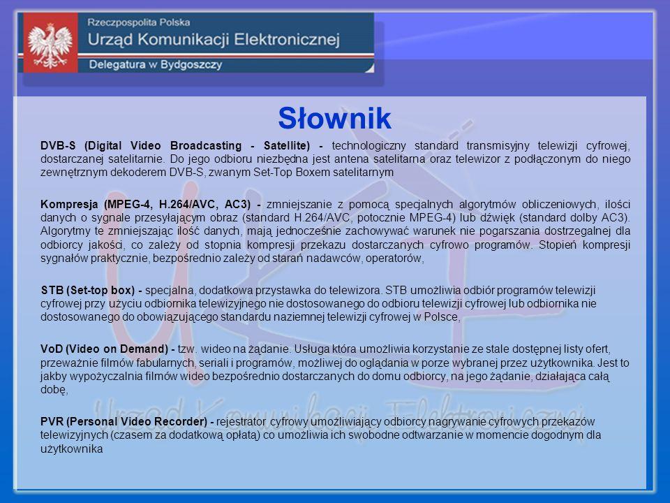 Słownik DVB-S (Digital Video Broadcasting - Satellite) - technologiczny standard transmisyjny telewizji cyfrowej, dostarczanej satelitarnie. Do jego o